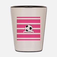 Soccer Ball Banner pink white Shot Glass