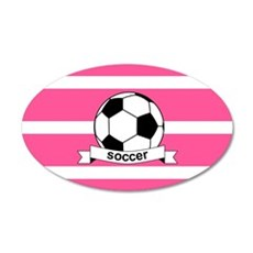 Soccer Ball Banner pink whit Wall Decal