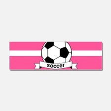 Soccer Ball Banner pink white Car Magnet 10 x 3