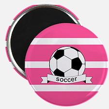 Soccer Ball Banner pink white Magnet