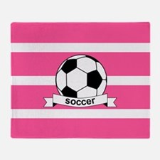 Soccer Ball Banner pink white Throw Blanket