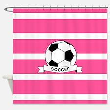 Soccer Ball Banner pink white Shower Curtain