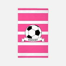 Soccer Ball Banner pink white 3'x5' Area Rug
