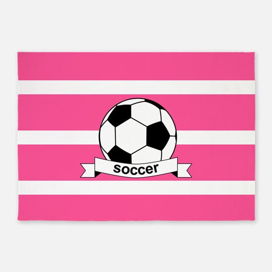 Soccer Ball Banner pink white 5'x7'Area Rug