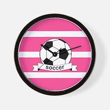 Soccer Ball Banner pink white Wall Clock