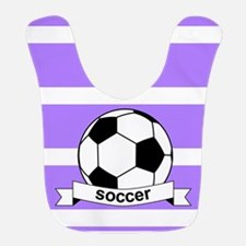Soccer Ball Banner Purple and White Stripe Bib