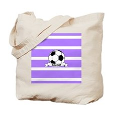 Soccer Ball Banner Purple and White Strip Tote Bag