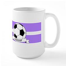 Soccer Ball Banner Purple and White Str Mug