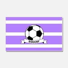 Soccer Ball Banner Purple and W Car Magnet 20 x 12