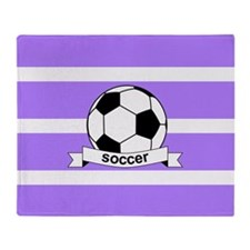 Soccer Ball Banner Purple and White Throw Blanket