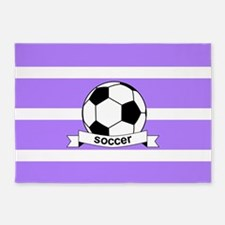 Soccer Ball Banner Purple and White 5'x7'Area Rug