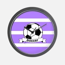 Soccer Ball Banner Purple and White Str Wall Clock
