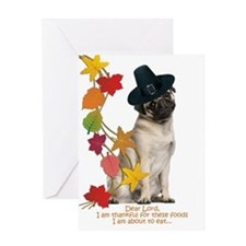 Pug Thanksgiving Greeting Cards