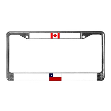 Chilean & Canadian Flags License Plate Frame