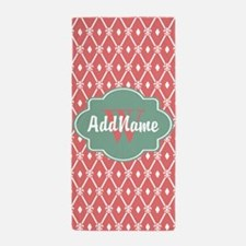 Mint and Coral Trellis Custom Monogram Beach Towel