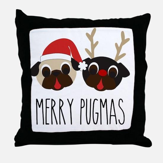 Merry Pugmas Santa & Reindeer Pugs Throw Pillow