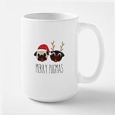 Merry Pugmas Santa & Reindeer Pugs Mug