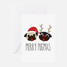 Merry Pugmas Santa & Reindeer Pugs Greeting Cards
