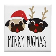Merry Pugmas Santa & Reindeer Pugs Tile Coaster