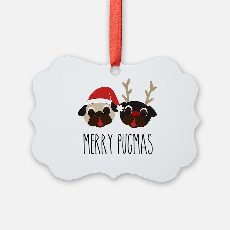 Merry Pugmas Santa & Reindeer Pug Ornament