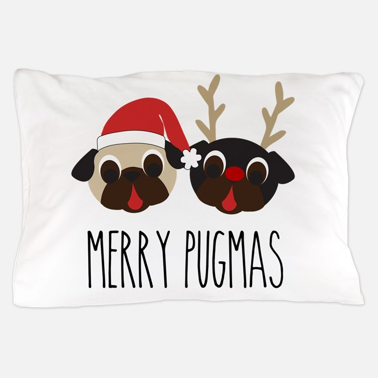 Merry Pugmas Santa & Reindeer Pugs Pillow Case