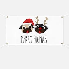 Merry Pugmas Santa & Reindeer Pugs Banner