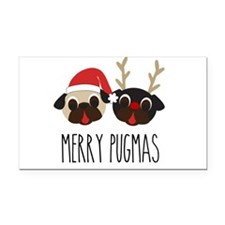 Merry Pugmas Santa & Reindeer Rectangle Car Magnet
