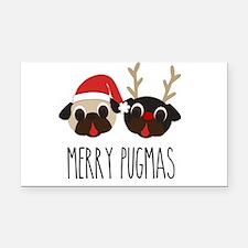 Merry Pugmas Santa & Reindeer Rectangle Car Magnet