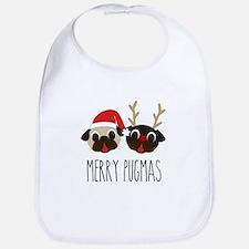 Merry Pugmas Santa & Reindeer Pugs Bib