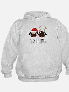 Merry Pugmas Santa & Reindeer Pugs Hoodie