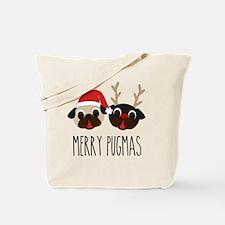 Merry Pugmas Santa & Reindeer Pugs Tote Bag