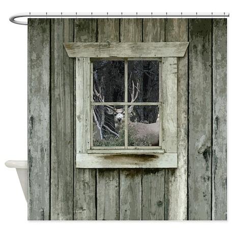 Attractive Old Cabin Window Buck 1 Shower Curtain