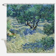 Van Gogh Olive Orchard Shower Curtain