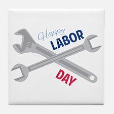 Happy Labor Day Tile Coaster