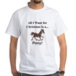 Christmas Pony White T-Shirt
