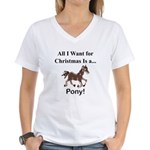Christmas Pony Women's V-Neck T-Shirt