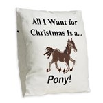 Christmas Pony Burlap Throw Pillow