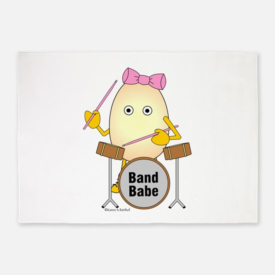 Band Babe Drummer 5'x7'Area Rug
