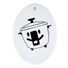 The Happy Rice Cooker Oval Ornament