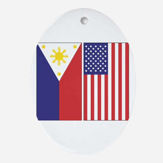 Philippine and US Flags Oval Ornament