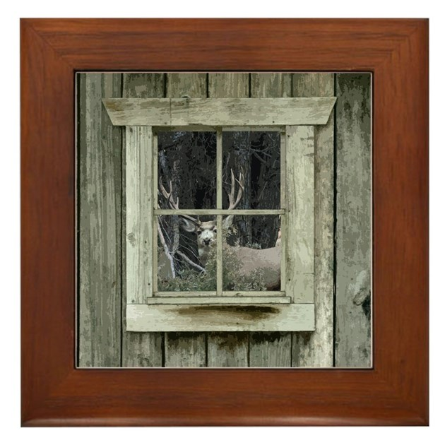 Old Cabin Window Buck 1 Framed Tile By Dmsdesignshop