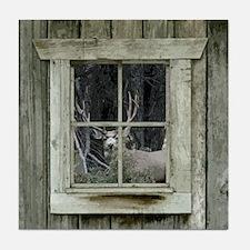 Old Cabin Window Buck 1 Tile Coaster