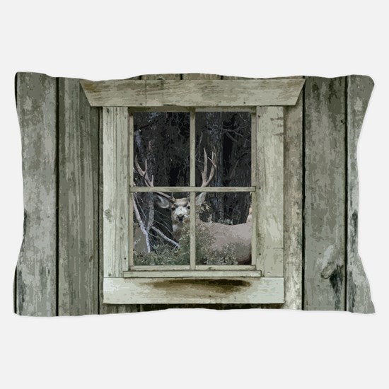 Old Cabin Window Buck 1 Pillow Case