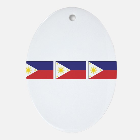 3 Philippine Flags Oval Ornament