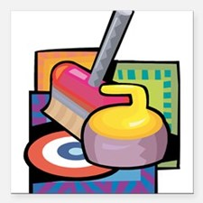 "Curling Square Car Magnet 3"" x 3"""