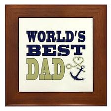 World's Best Dad Heart Anchor Framed Tile