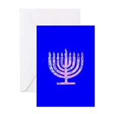 Blue Menorah Elegant Hanukkah Light Greeting Cards