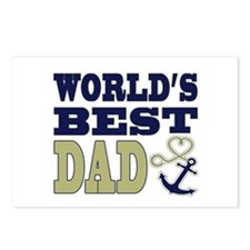 World's Best Dad Heart Anchor Postcards (Package o