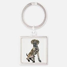 Brindle Great Dane Pup Square Keychain
