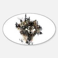 Watercolor Wolf Mountain Art Decal
